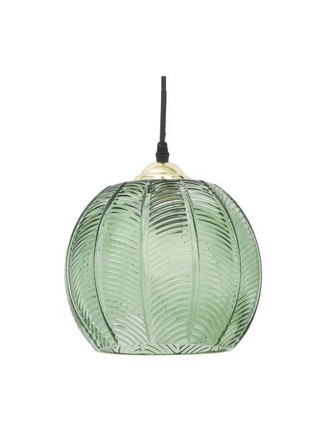 Kleine Pendelleuchte Luisa aus Glas, Lampenschirm: Glas, Baldachin: Metall, lackiert, Dekor: Metall, lackiert, Grün, Ø 22 x H 20 cm