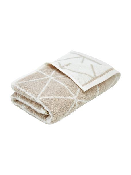 Wende-Handtuch Elina mit grafischem Muster, 100% Baumwolle, mittelschwere Qualität 550 g/m², Sandfarben, Cremeweiss, Gästehandtuch