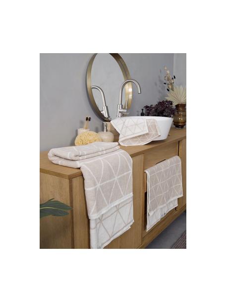 Dubbelzijdige handdoek Elina met grafisch patroon, 100% katoen, middelzware kwaliteit, 550 g/m², Zandkleurig, crèmewit, Gastendoekje