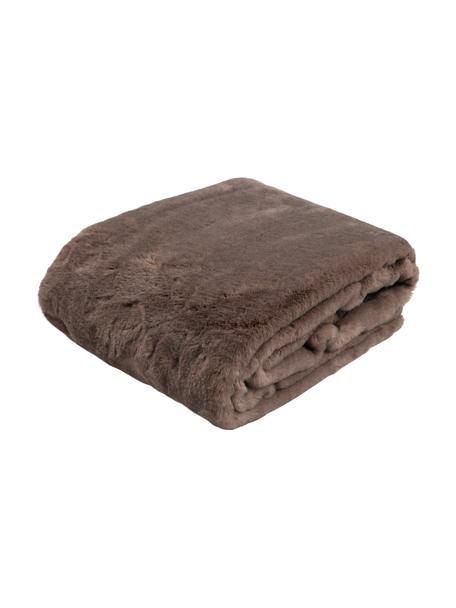 Knuffelplaid Skins van kunstbont in bruin, Bovenzijde: 60% polyacryl, 40% polyes, Onderzijde: 100% polyester, Bruin, 150 x 200 cm