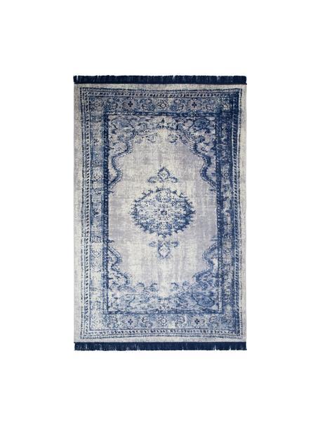 Vintage Teppich Marvel mit Fransen, Flor: 66% Kunstseide, 25% Baumw, Blau und Beigetöne, B 175 x L 240 cm (Größe M)