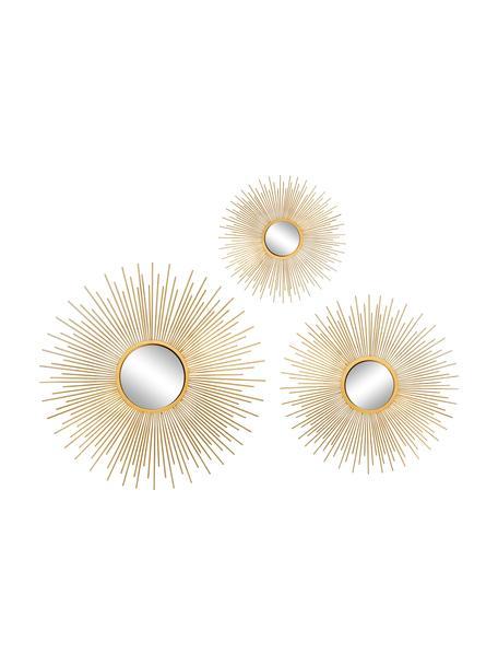 Set de espejos de pared Sun, 3pzas., Espejo: cristal, Dorado, Set de diferentes tamaños