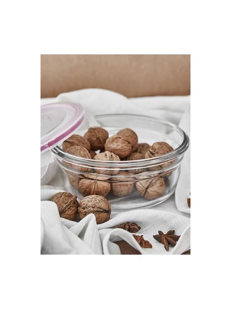 Set 3 contenitori per alimenti Romy, Contenitore: vetro temperato, privo di, Trasparente, rosa, Set in varie misure