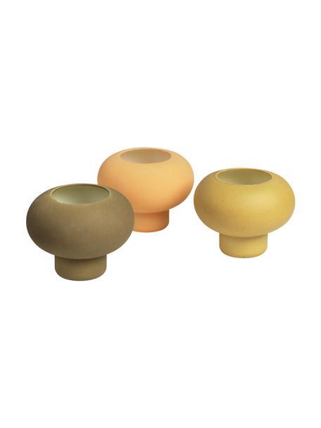 Komplet świeczników na podgrzewacze Agate, 3 elem., Porcelana, Żółty, brunatnożółty, oliwkowy zielony, Ø 9 x W 7 cm