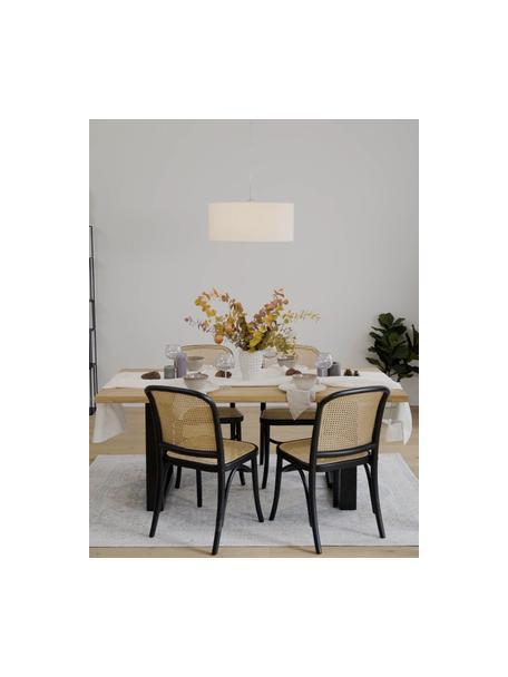Lámpara de techo Parry, Anclaje: metal niquelado, Pantalla: tela, Cable: plástico, Plateado, blanco, Ø 53 x Al 25 cm