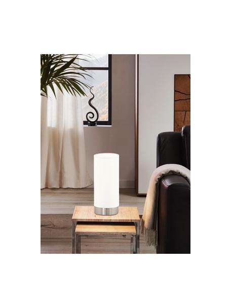 Kleine Dimmbare Nachttischlampe Pasteri, Lampenschirm: Polyester, Weiss, Nickel, Ø 12 x H 26 cm