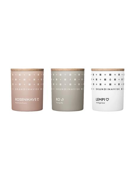 Set 3 candele profumate Sense, Contenitore: vetro, Coperchio: legno di betulla, Scatola: cartone, Multicolore, Larg. 5 x Alt. 7 cm