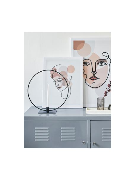 Kandelaar Agell, Gecoat metaal, Zwart, 29 x 31 cm