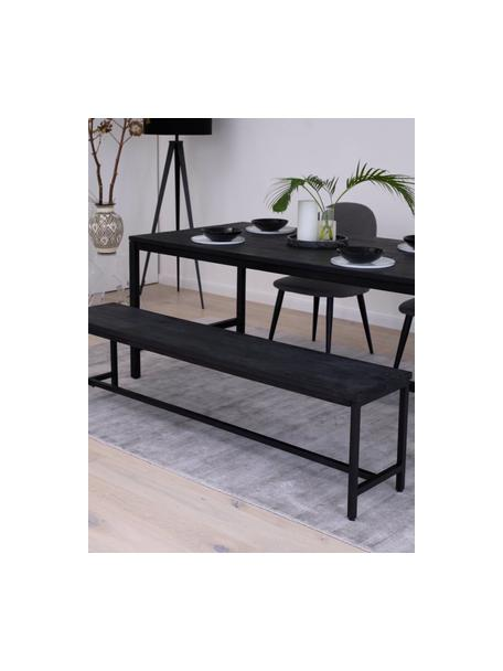 Ławka z litego drewna mangowego Raw, Stelaż: metal malowany proszkowo, Siedzisko: drewno mangowe, czarny lakierowany Stelaż: czarny, matowy, S 170 x D 47 cm