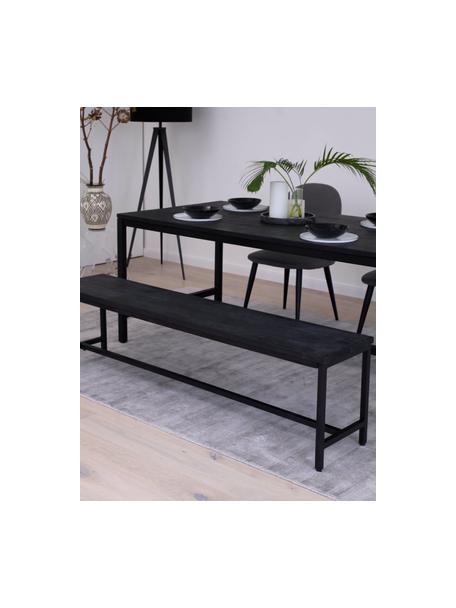 Sitzbank Raw aus massivem Mangoholz, Sitzfläche: Massives Mangoholz, gebür, Gestell: Metall, pulverbeschichtet, Schwarz, 170 x 47 cm