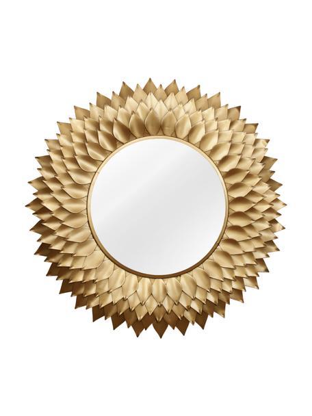 Okrągłe lustro ścienne z metalowa ramąPetal, Odcienie złotego, Ø 95 x G 4 cm