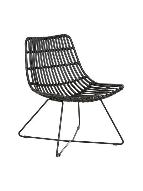 Sedia a poltrona boho nera Costa, Seduta: intreccio in polietilene, Struttura: metallo verniciato a polv, Nero, Larg. 64 x Prof. 64 cm