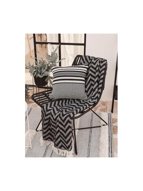 Sedia a poltrona in polirattan nero Costa, Seduta: intreccio in polietilene, Struttura: metallo verniciato a polv, Nero, Larg. 64 x Prof. 64 cm