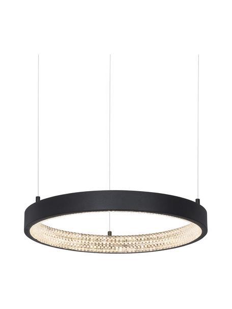 Dimbare LED hanglamp Preston in zwart, Lampenkap: gecoat aluminium, Diffuser: acryl, Baldakijn: gecoat aluminium, Zwart, Ø 40 x H 120 cm