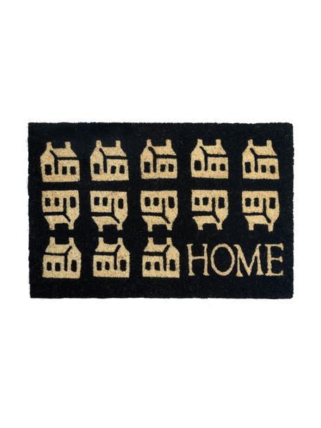 Deurmat Home, Kokosvezels, Zwart, beige, 45 x 75 cm