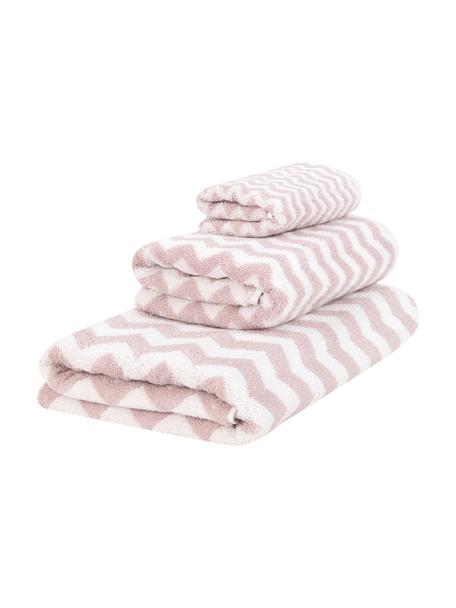 Handdoekenset Liv, 3-delig, 100% katoen, middelzware kwaliteit, 550 g/m², Roze, crèmewit, Set met verschillende formaten