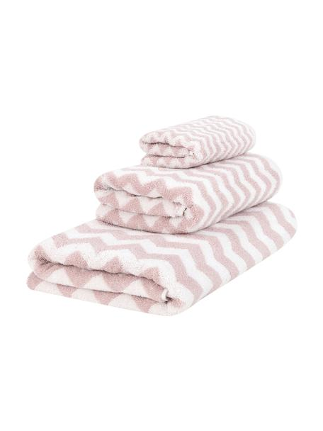 Set de toallas Liv, 3pzas., Rosa, blanco crema, Set de diferentes tamaños