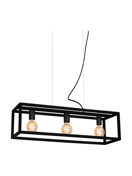 Lámpara de techo grande Cage, Estructura: metal recubierto, Anclaje: metal recubierto, Cable: plástico, Negro, An 85 x Al 90 cm