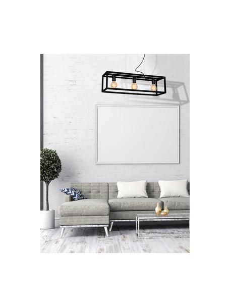 Lampada a sospensione nera Cage, Baldacchino: metallo rivestito, Nero, Larg. 85 x Alt. 90 cm