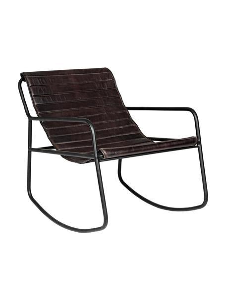 Fotel bujany ze skóry Karisma, Stelaż: metal malowany proszkowo, Czarny, S 59 x G 77 cm