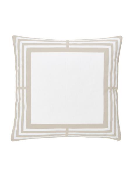 Federa arredo in cotone taupe/bianco con motivo grafico Frame, 100% cotone, Bianco, beige, Larg. 45 x Lung. 45 cm