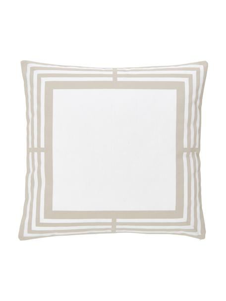 Kissenhülle Zahra in Taupe/Weiß mit grafischem Muster, 100% Baumwolle, Weiß, Beige, 45 x 45 cm