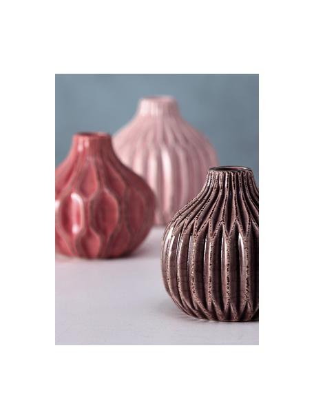 Set 3 vasi decorativi in gres Lenja, Gres, Rosa, corallo, marrone, Ø 11 x Alt. 11 cm