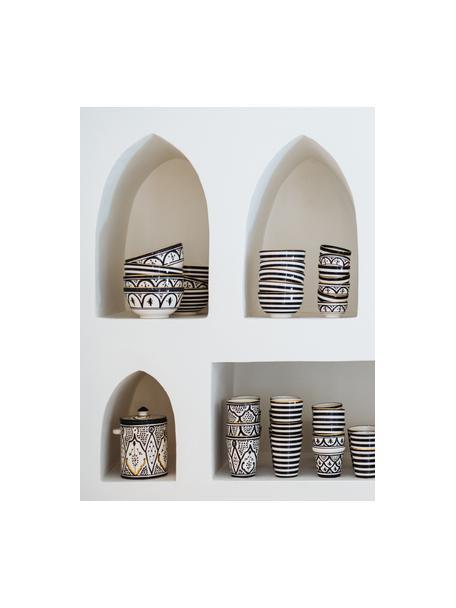 Handgemachtes marokkanisches Schälchen Moyen mit Goldrand, Ø 15 cm, Keramik, Schwarz, Cremefarben, Gold, Ø 15 x H 9 cm
