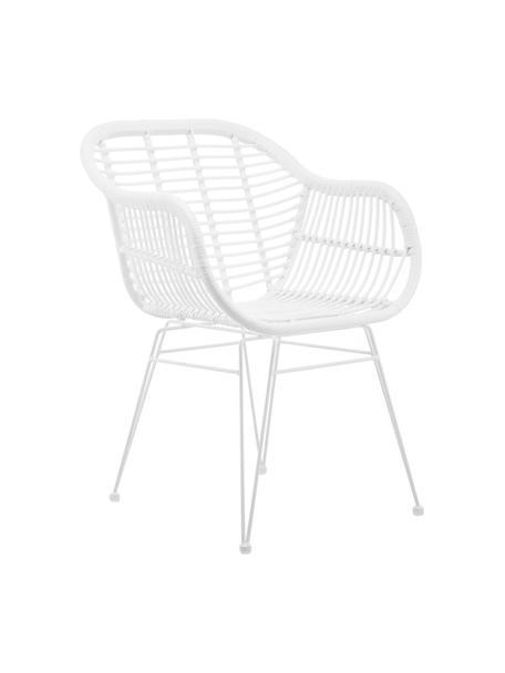 Krzesło z podłokietnikami z polirattanu Costa, 2 szt., Stelaż: metal malowany proszkowo, Siedzisko: biały Stelaż: biały, matowy, S 59 x G 58 cm