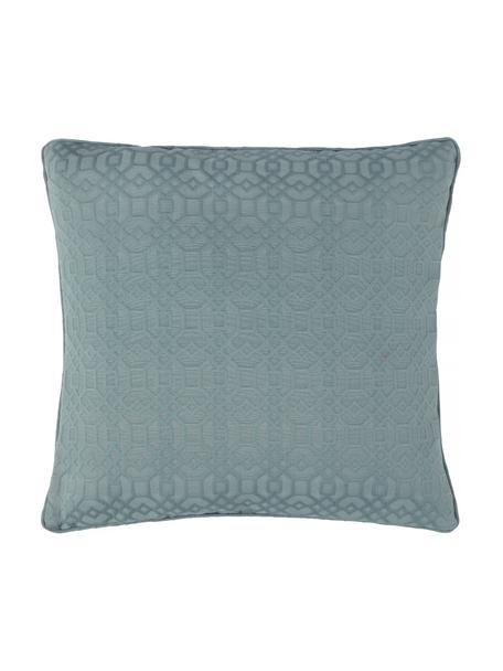 Kissenhülle Feliz mit grafischem Muster, 60% Baumwolle, 40% Polyester, Blau, 50 x 50 cm