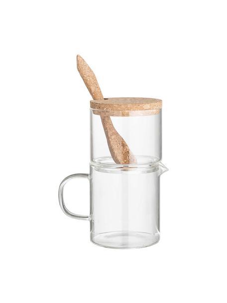 Melk- en suikerset Pot, 3-delig, Glas, kurk, Transparant, bruin, Set met verschillende formaten