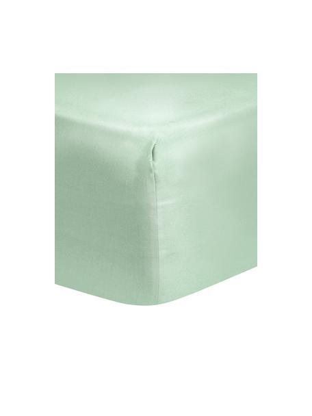 Prześcieradło z gumką z satyny bawełnianej Comfort, Szałwiowy zielony, S 90 x D 200 cm