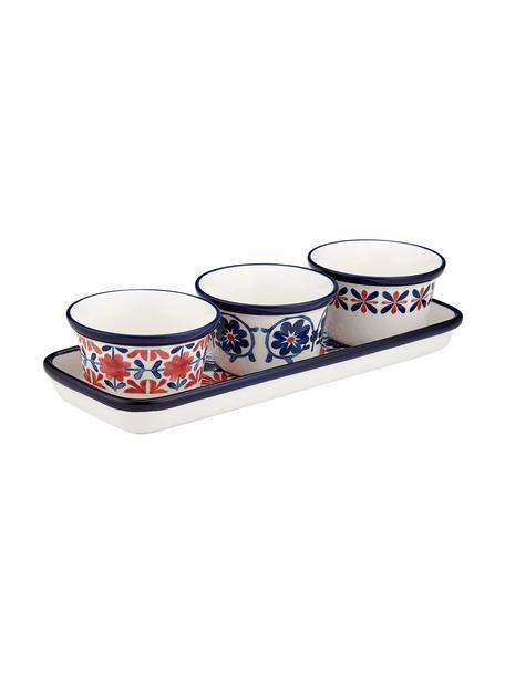 Bunt bemalte Dipschälchen Fiesta, 4er-Set, New Bone China, Rot, Blautöne, Weiss, Ø 10 x H 6 cm