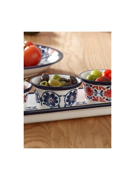 Set van 4 kleurrijk beschilderde dipschaaltjes Fiesta, New Bone China, Rood, blauwtinten, wit, Ø 10 x H 6 cm