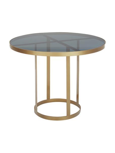Tavolo rotondo in vetro con struttura dorata Marika, Ø100 cm, Struttura: metallo verniciato, Piano d'appoggio: vetro colorato, Dorato, trasparente, Ø 100 x Alt. 76 cm
