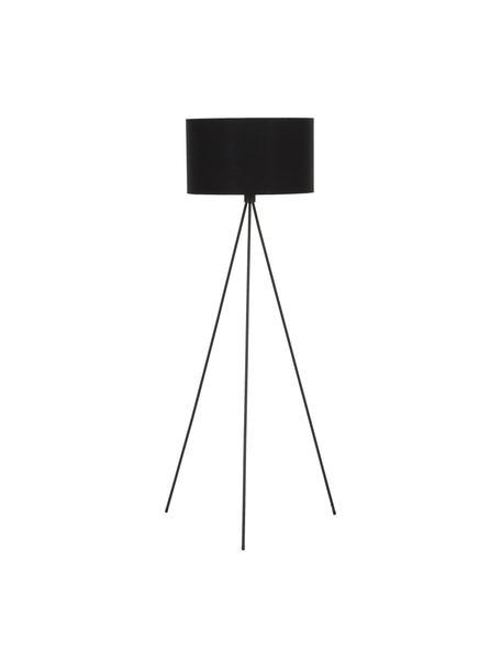 Driepoot vloerlamp Cella met stoffen kap, Lampenkap: katoenmix, Lampvoet: gepoedercoat metaal, Zwart, Ø 45 x H 147 cm