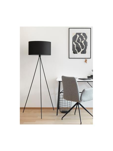 Lámpara de pie trípode Cella, Pantalla: mezcla de algodón, Cable: plástico, Negro, Ø 45 x Al 147 cm