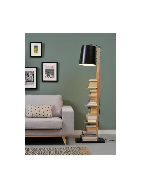 Leeslamp Cambridge met planken van hout, Lampenkap: gepoedercoat metaal, Frame: hout, Lampvoet: gepoedercoat metaal, Zwart, houtkleurig, 38 x 168 cm