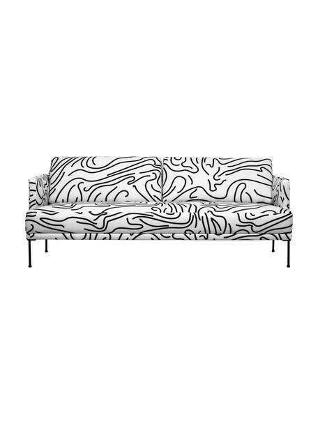 Sofa z  metalowymi nogami Fluente (3-osobowa), Tapicerka: 100% poliester Dzięki tka, Nogi: metal malowany proszkowo, Biały, S 196 x G 85 cm