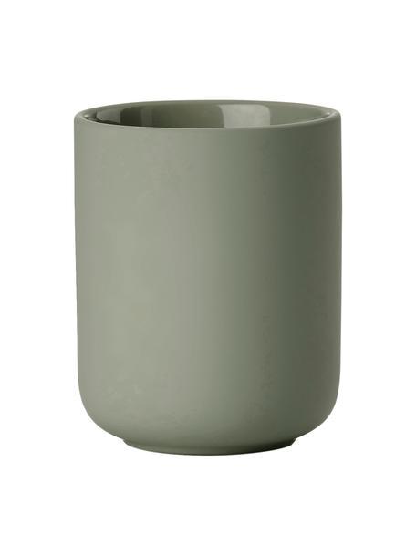 Porta spazzolini in gres Ume, Terracotta rivestita con superficie soft-touch (materiale sintetico), Verde eucalipto, Ø 8 x Alt. 10 cm