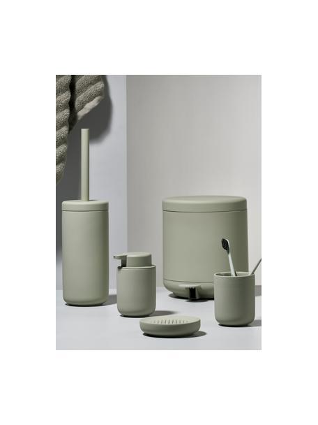 Tandenborstelbeker Ume van keramiek, Keramiek overtrokken met een soft-touch oppervlak (kunststof), Eucalyptusgroen, Ø 8 x H 10 cm