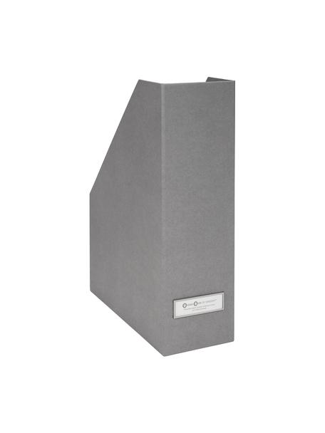 Tijdschriftencassette Viktoria, Organizer: stevig gelamineerd karton, Organizer buitenzijde: lichtgrijs. Organizer binnenzijde: wit.  Embleem: wit, zi, 10 x 32 cm