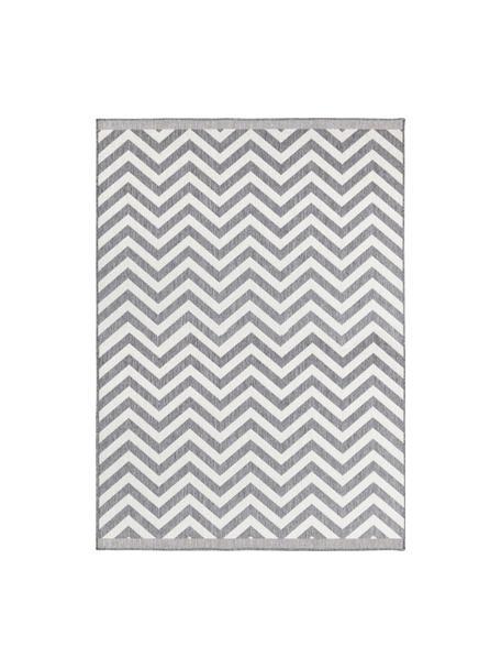 In- & Outdoor-Teppich Palma mit Zickzack-Muster, beidseitig verwendbar, Grau, Creme, B 80 x L 150 cm (Größe XS)