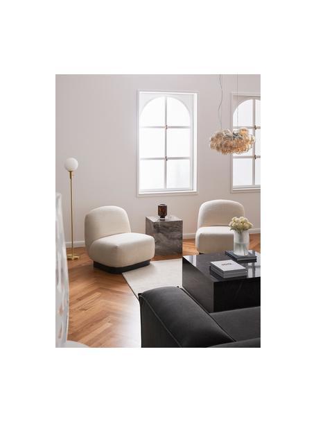 Lámpara de pie de vidrio opalino Minna, Pantalla: vidrio opalino, Cable: cubierto en tela, Latón, Ø 22 x Al 144 cm