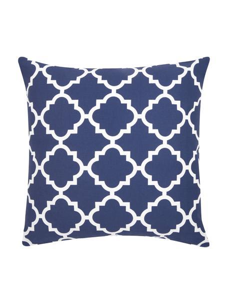 Kussenhoes Lana in marineblauw met grafisch patroon, 100% katoen, Marineblauw, wit, 45 x 45 cm