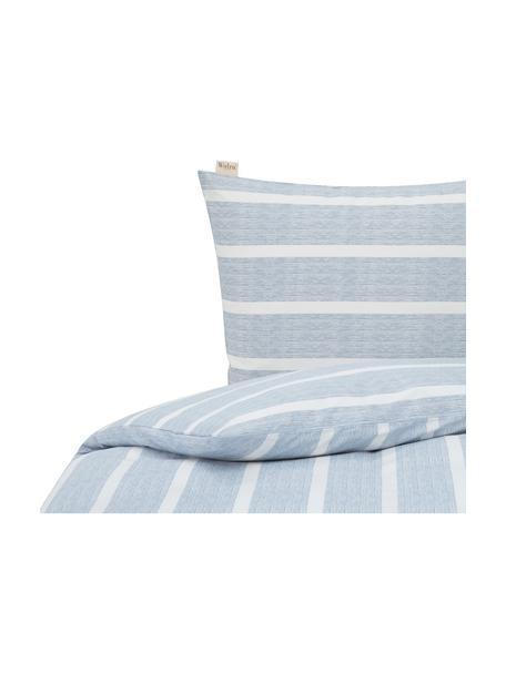 Pościel z bawełny Stripe Along, Niebieski, biały, 135 x 200 cm + 1 poduszka 80 x 80 cm