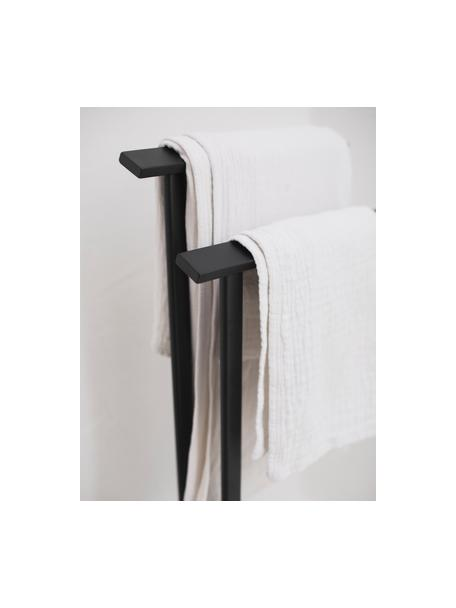 Handdoekenhouder Bleech, Gecoat metaal, Zwart, 33 x 83 cm
