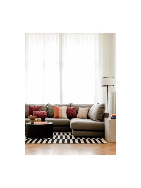 Lámpara de pie de lino Claudette, Pantalla: lino estructurado, Cable: cubierto en tela, Crema, negro, Ø 40 x Al 165 cm