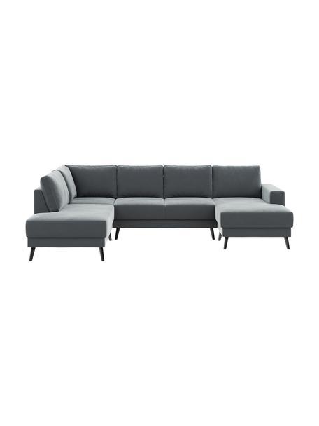 Sofa narożna XL z aksamitu Fynn (5-osobowa), Tapicerka: 100% aksamit poliestrowy , Nogi: drewno lakierowane, Aksamitny stalowy szary, S 306 x G 200 cm