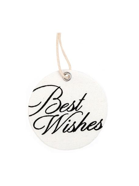 Etiquetas para regalo Best Wishes, 6uds., 60%poliéster, 40%algodón, Blanco, negro, Ø 6 x Al 6 cm